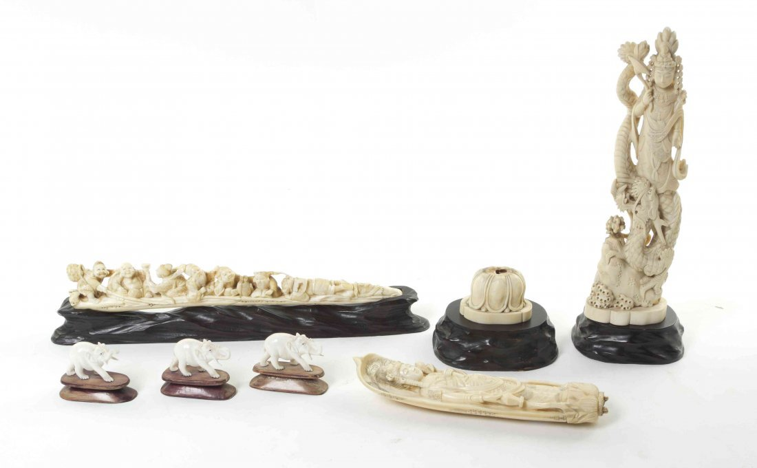 A Group of Six Carved Ivory Figures, Length of longest