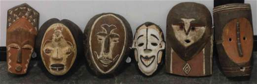 Five African Carved Masks, Height of tallest 12 5/8