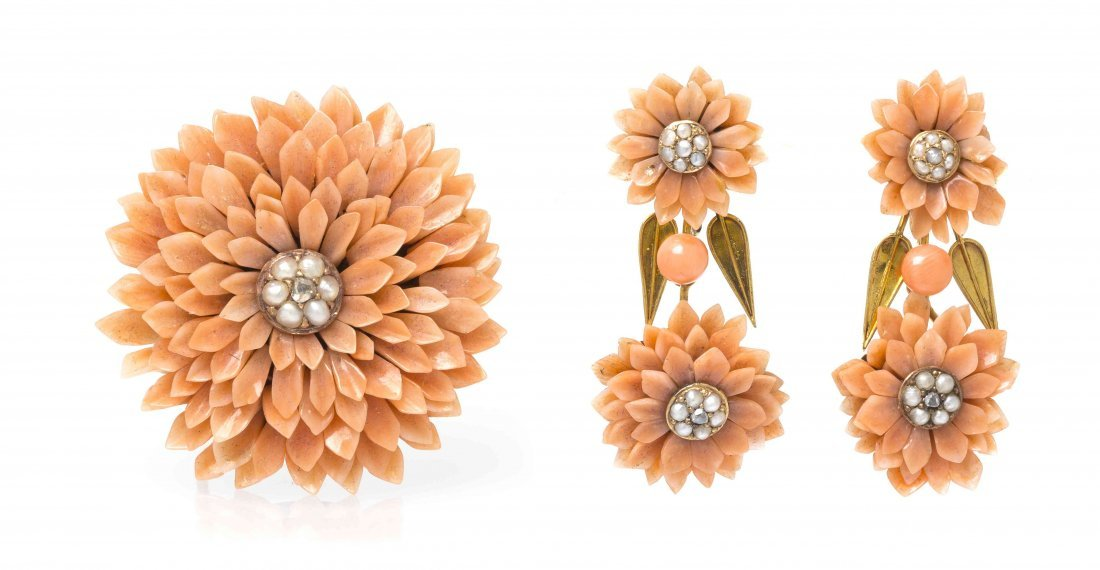 An Antique Yellow Gold, Coral, Seed Pearl and Diamond
