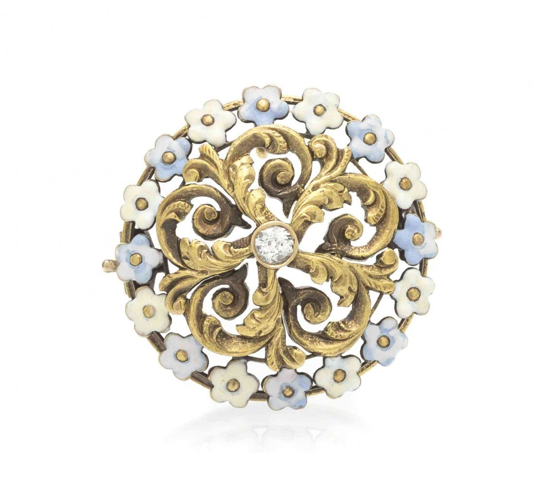 A Victorian Yellow Gold, Diamond and Polychrome Enamel