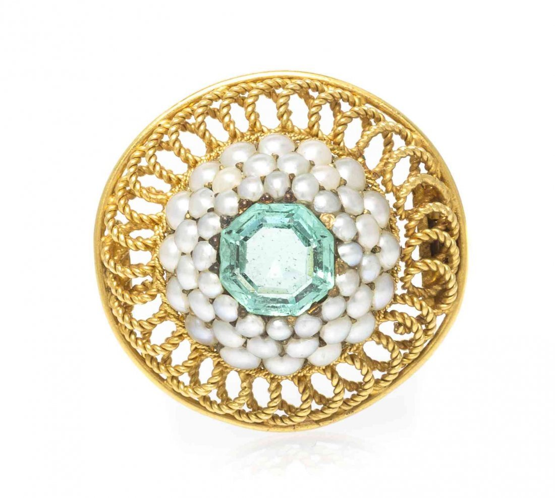 A Victorian Yellow Gold, Emerald and Seed Pearl Pin,
