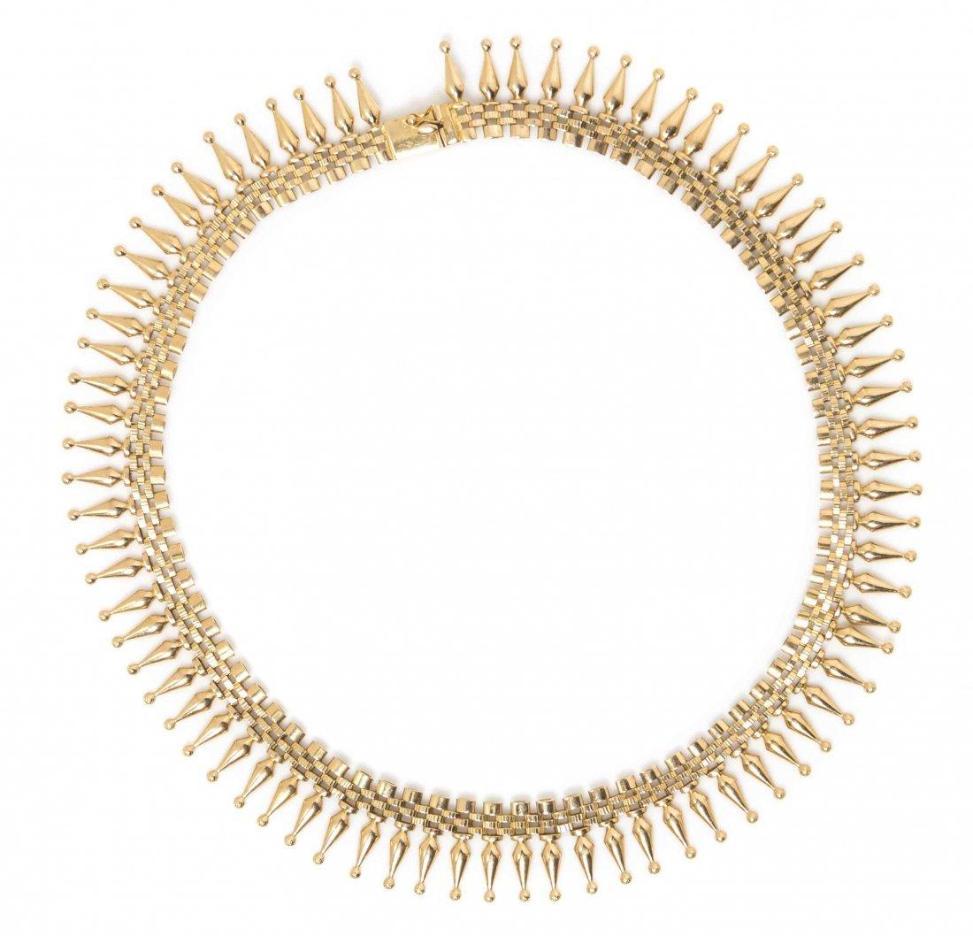 An 18 Karat Yellow Gold Bib Necklace, 23.30 dwts.