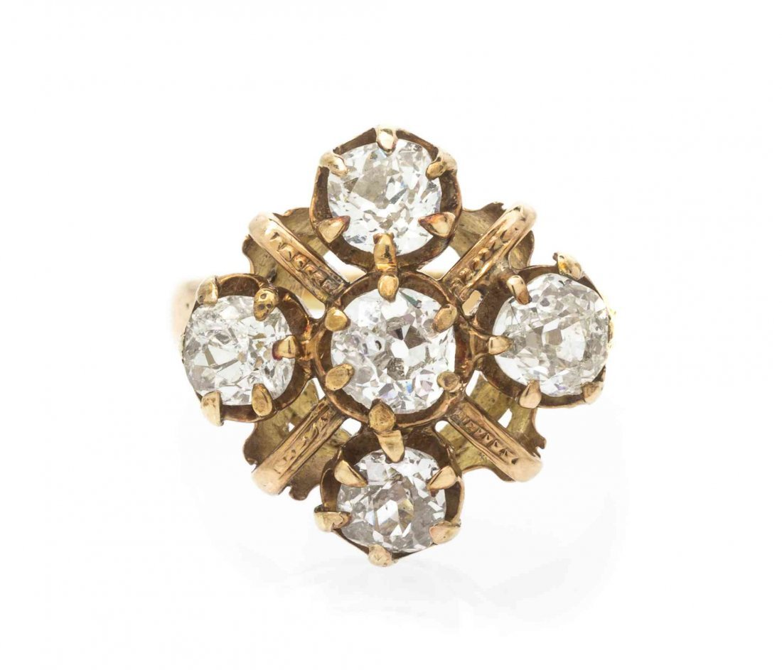 A Victorian Yellow Gold and Diamond Ring, 3.50 dwts.