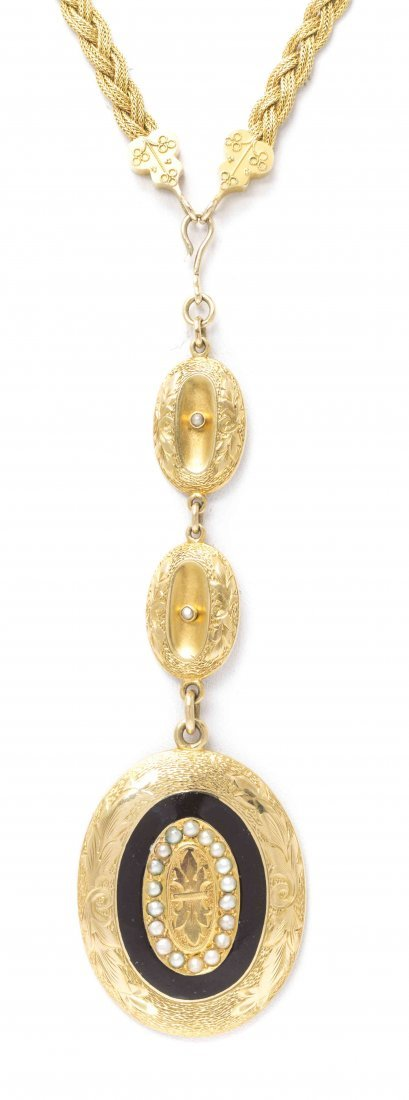 A Victorian 18 Karat Gold, Seed Pearl and Enamel