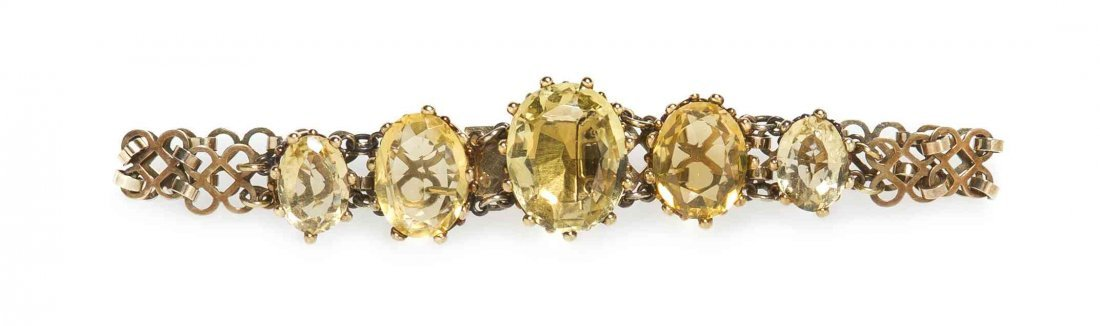 An Antique Yellow Gold and Citrine Bracelet, 5.60 dwts.
