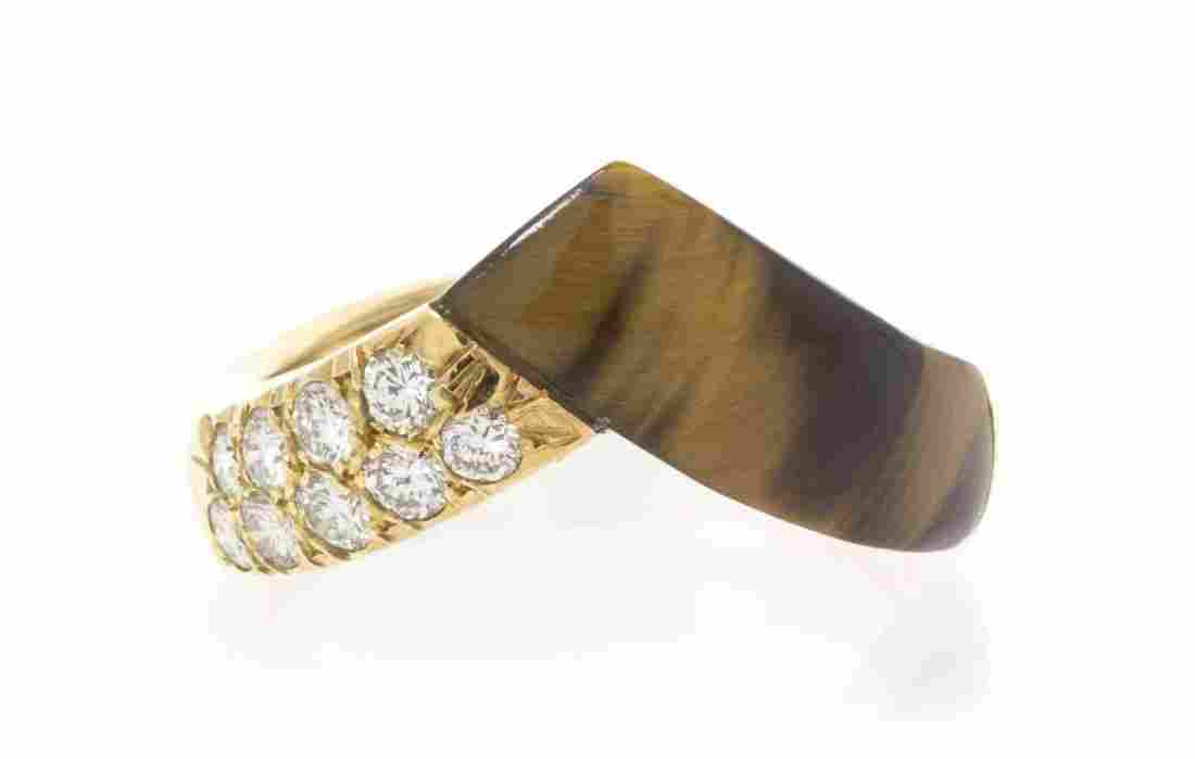 An 18 Karat Yellow Gold, Diamond and Tiger's Eye Quartz