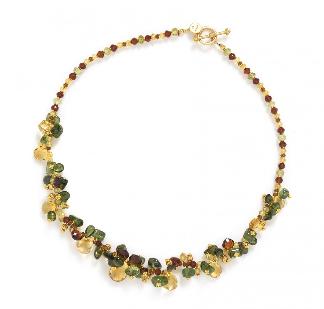 A 22 Karat Yellow Gold and Multi Gem Necklace, Laura