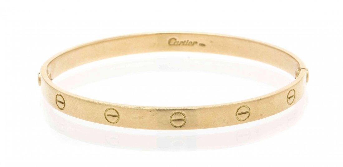 An 18 Karat Yellow Gold Love Bracelet, Cartier, 23.00
