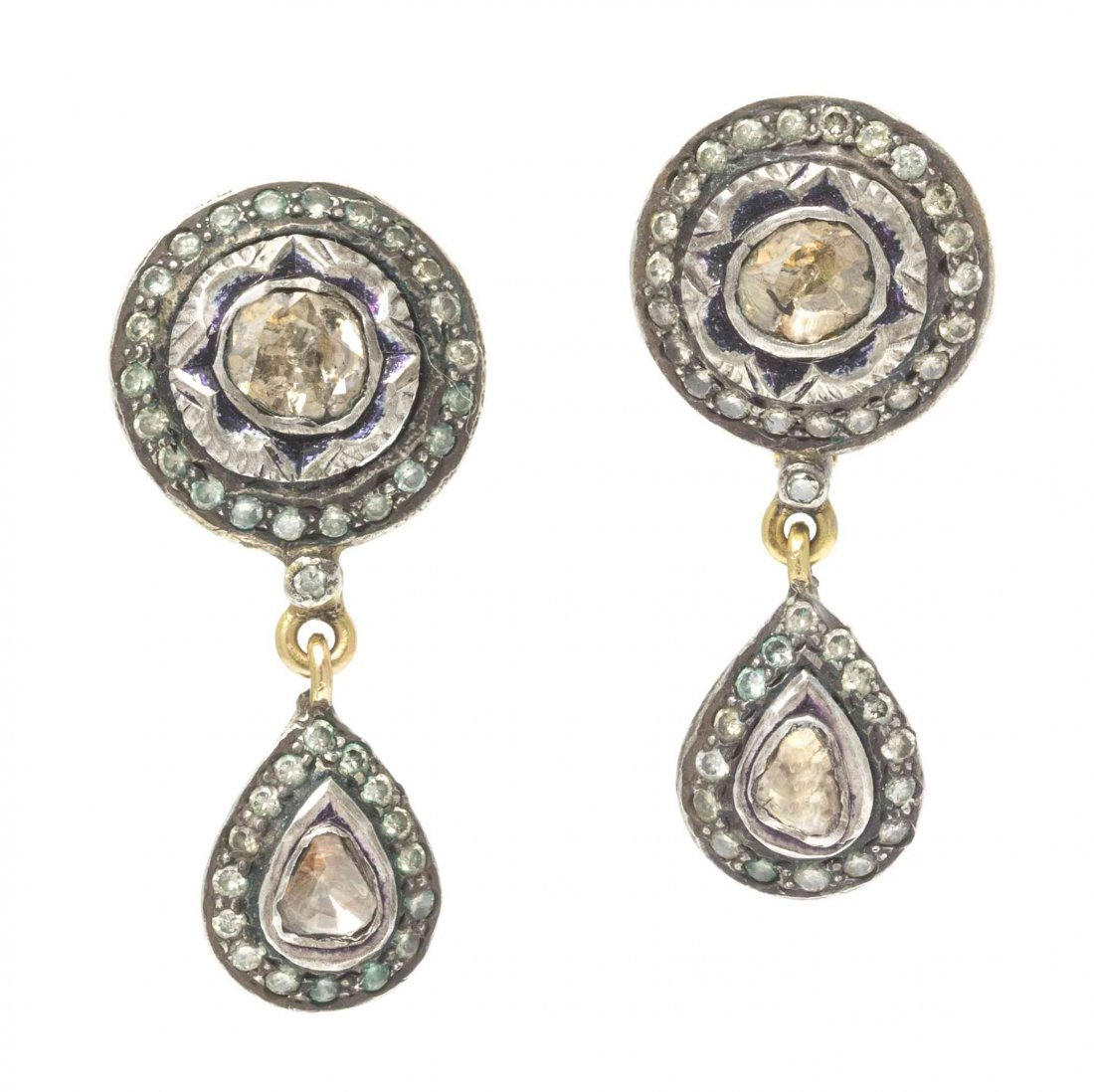 A Pair of Antique Silver Topped Yellow Gold and Diamond