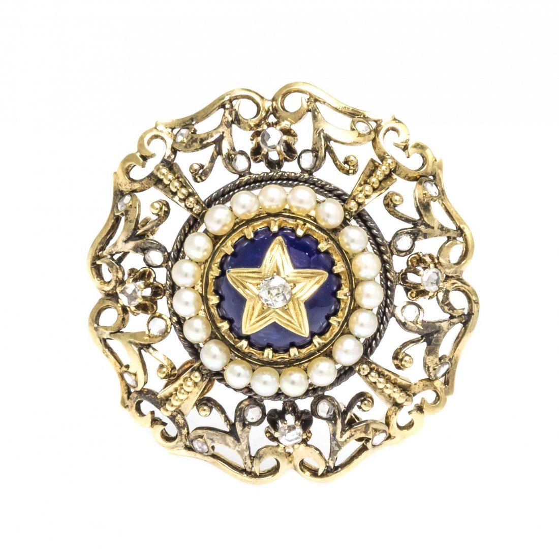 An Antique 18 Karat Yellow Gold, Diamond, Seed Pearl