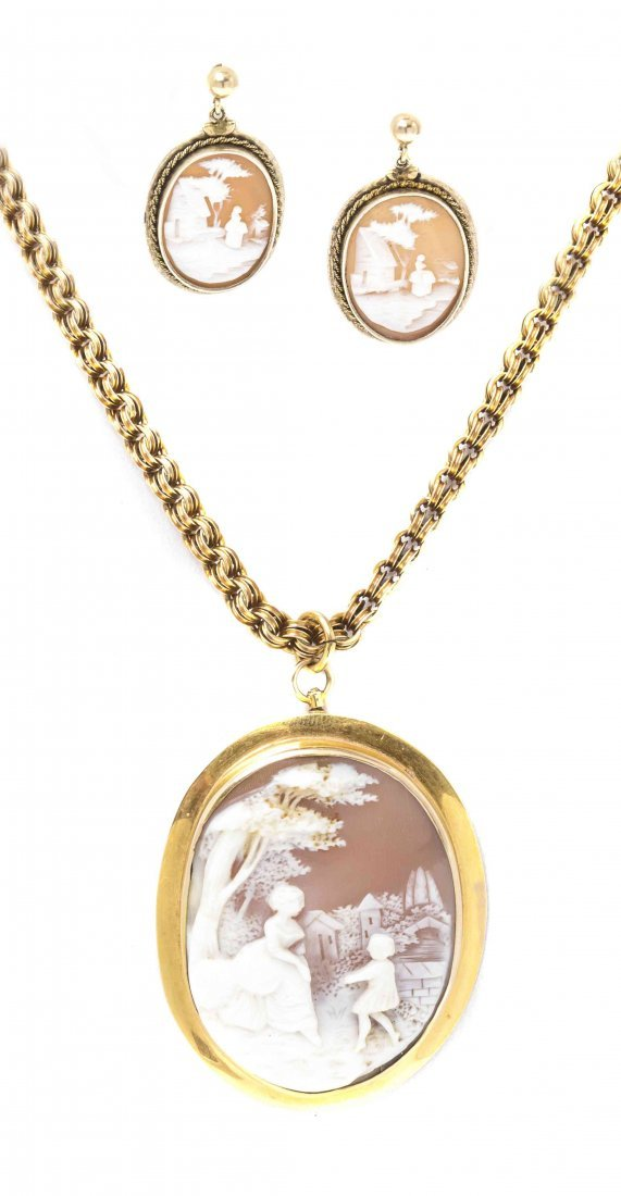 A Collection of Shell Cameo Jewelry, 17.50 dwts.