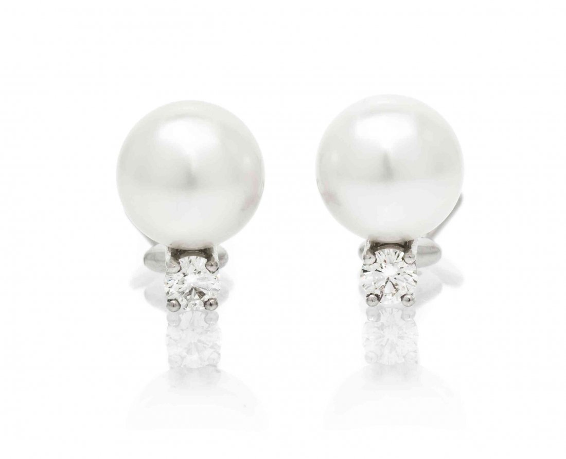 A Pair of Platinum, Cultured South Sea Pearl and