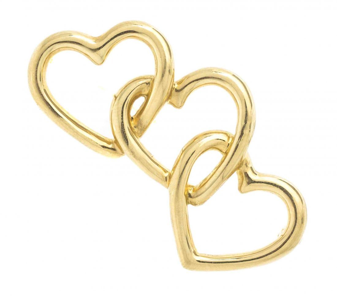 An 18 Karat Yellow Gold Heart Brooch, Tiffany & Co.,