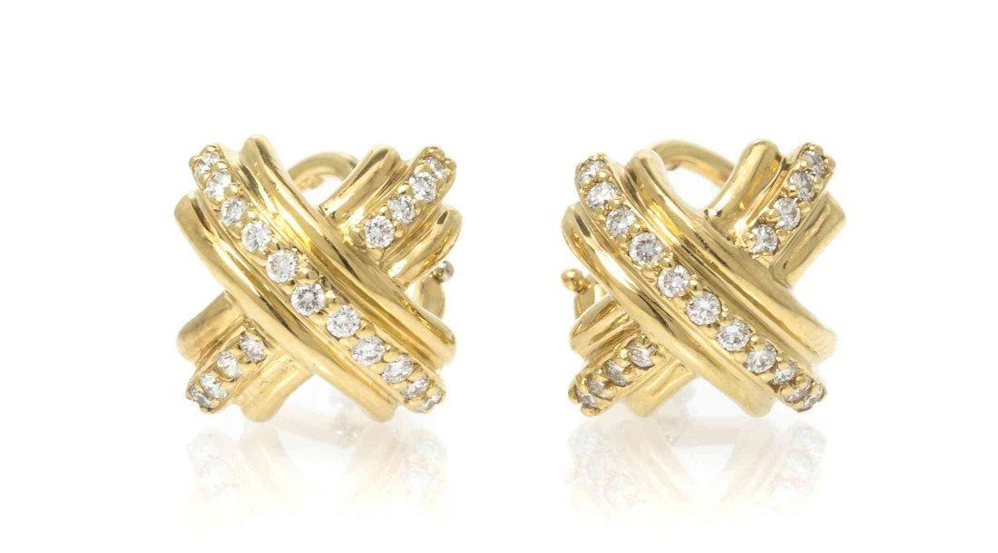 A Pair of 18 Karat Yellow Gold and Diamond Criss Cross