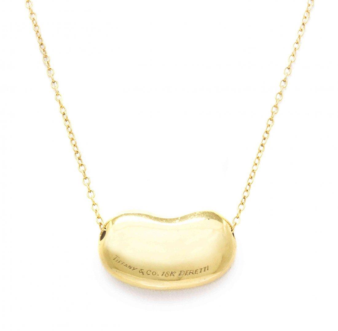 An 18 Karat Yellow Gold Bean Necklace, Elsa Peretti for