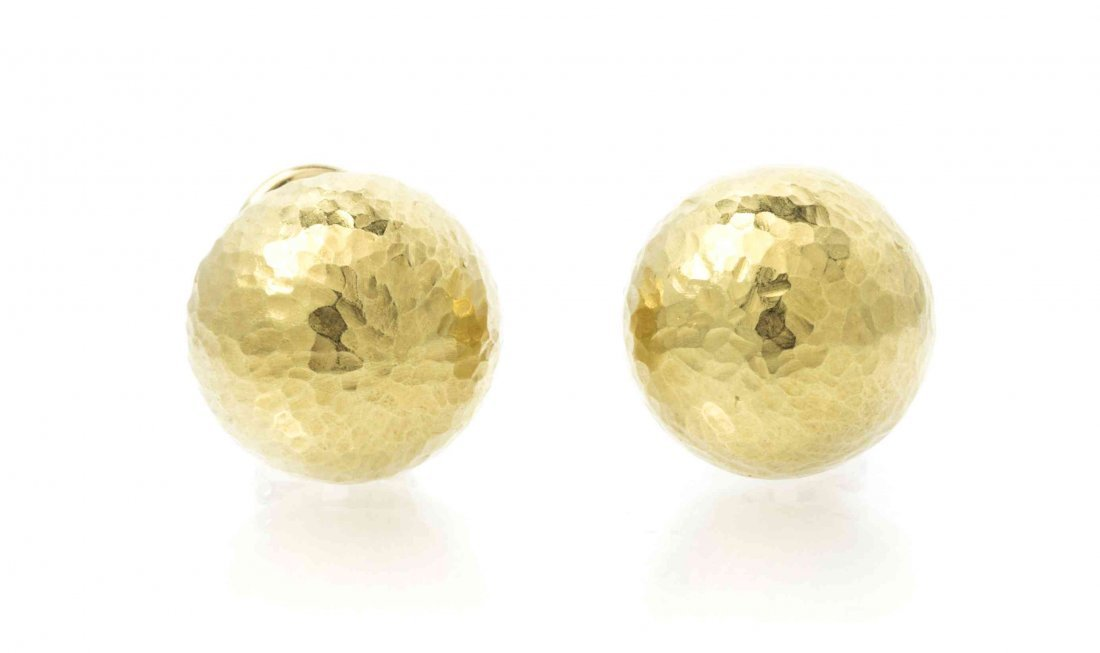 A Pair of 18 Karat Yellow Gold Earclips, Paloma Picasso