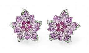 A Pair of 18 Karat White Gold Ruby Pink Sapphire