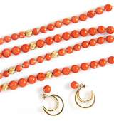 A Collection of 14 Karat Yellow Gold and Coral Jewelry