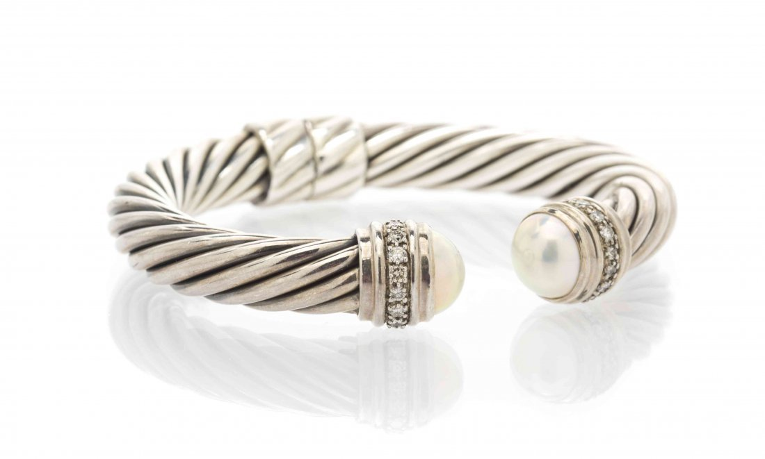 A Sterling Silver, Diamond and Mabe Pearl Bracelet,