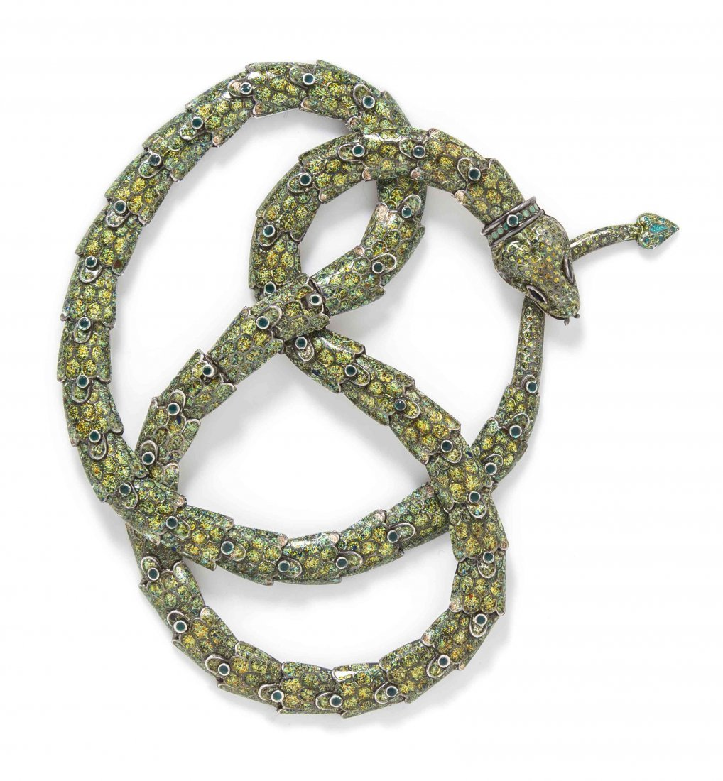 A Sterling Silver and Polychrome Enamel Snake Necklace,