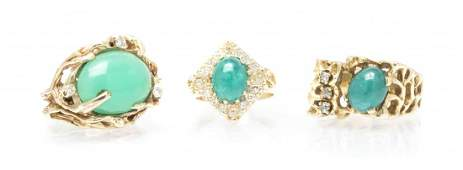 A Collection of 14 Karat Yellow Gold and Gem Rings