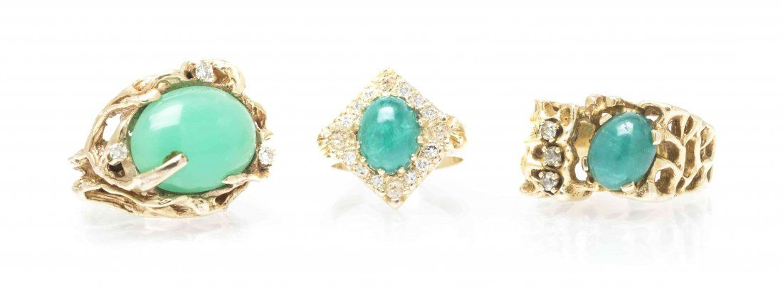 A Collection of 14 Karat Yellow Gold and Gem Rings,