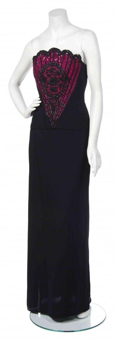 A George Halley Black Wool Crepe Gown,