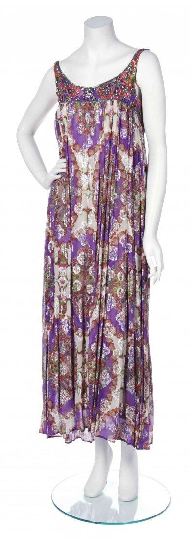 A George Halley Purple Print Chiffon Dress,