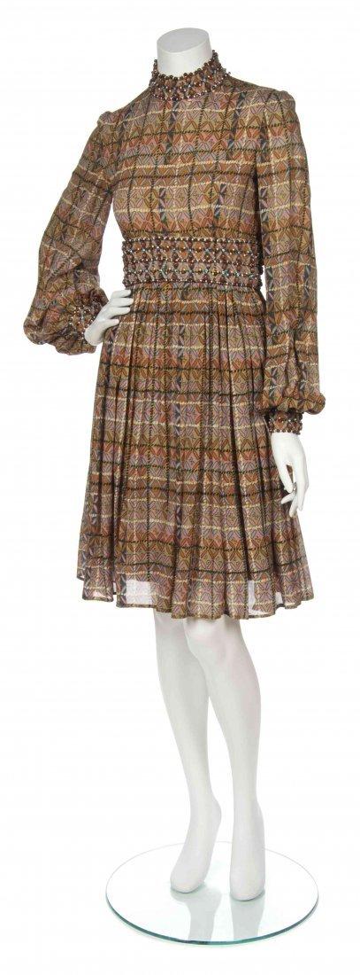 A George Halley Multicolor Print Chiffon Dress,