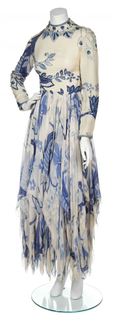 A George Halley Cream Silk and Chiffon Printed Dress,
