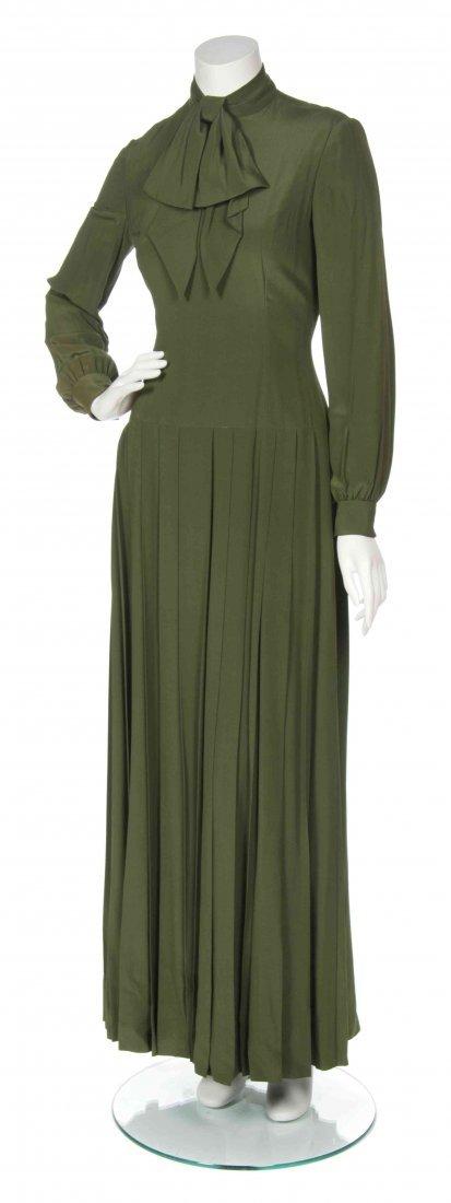 A George Halley Green Silk Dress,