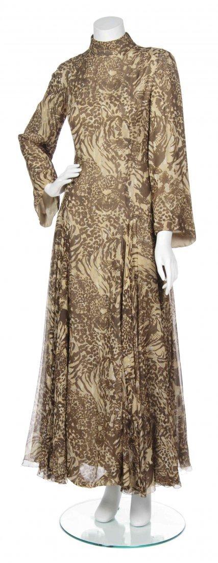 A George Halley Animal Print Chiffon Gown,