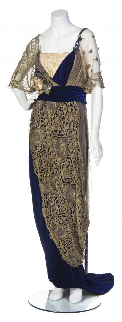 A Maison Worth Cobalt Blue Silk Velvet and Gold Lace