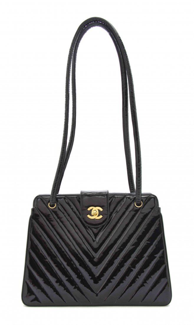 A Chanel Black Chevron Quilted Patent Leather Bag, 11