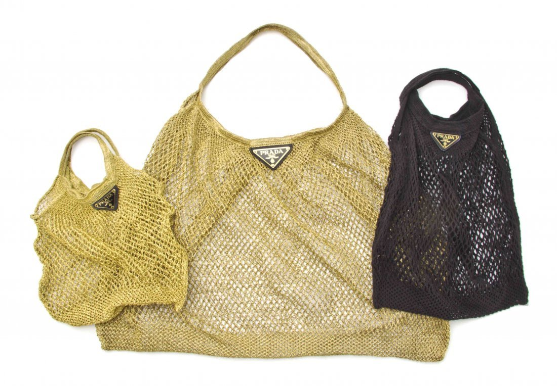 A Group of Three Prada Fishnet Bags,