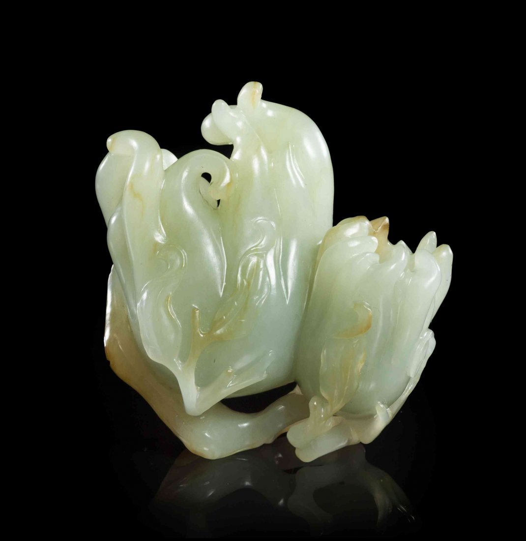 A Carved Jade Buddha's Hand Citron, Height 3 1/8