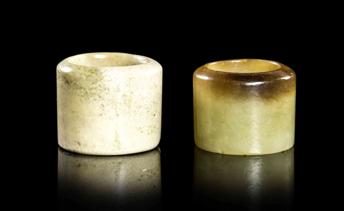 Two Carved Jade Archer's Rings, Height of taller 1