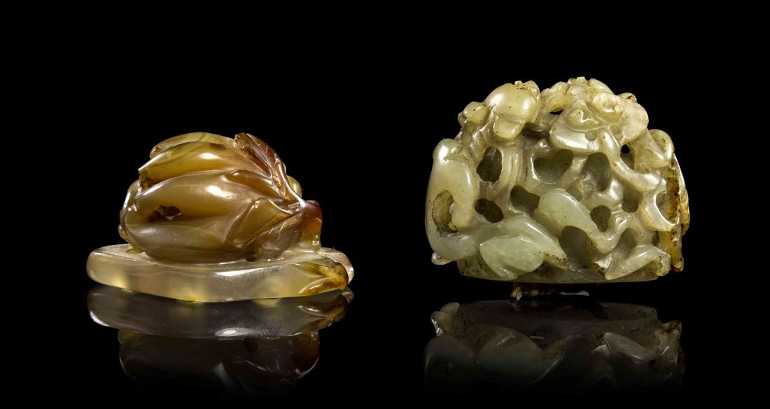 Two Carved Stone Hat Finials, Qing Dynasty, Width of fi