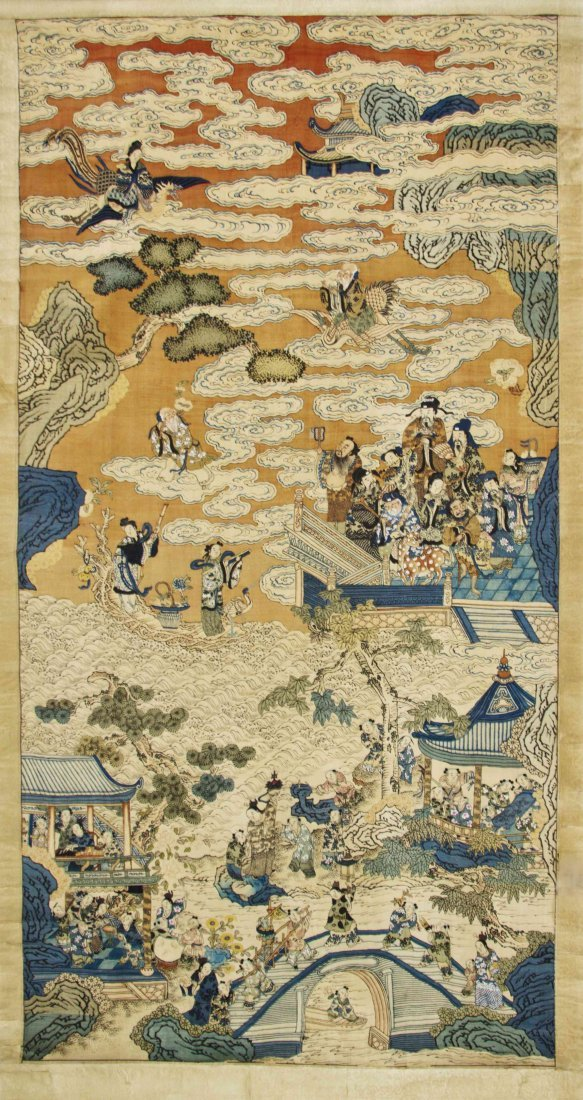 A Chinese Kesi Panel, Height 67 3/4 x width 34 3/4