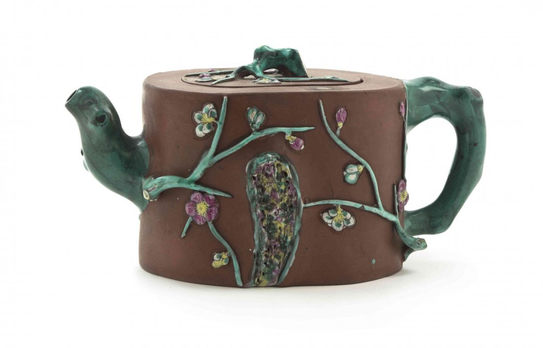 A Chinese Yixing Pottery Teapot, Width over handles 7