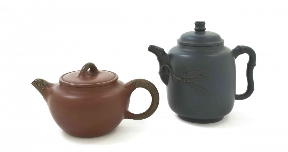 Two Chinese Yixing Teapots, Width of wider 6 3/8