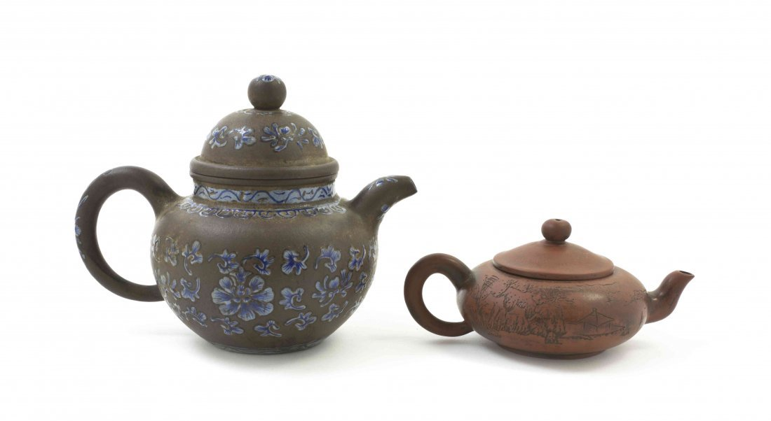 Two Chinese Yixing Teapots, Height of taller overall 6