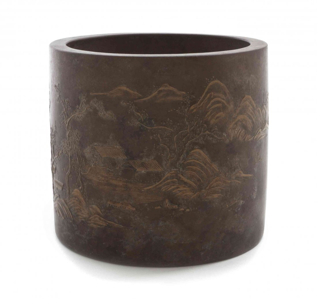 A Yixing Slip-Decorated Brushpot, Height 5 1/2 inches.