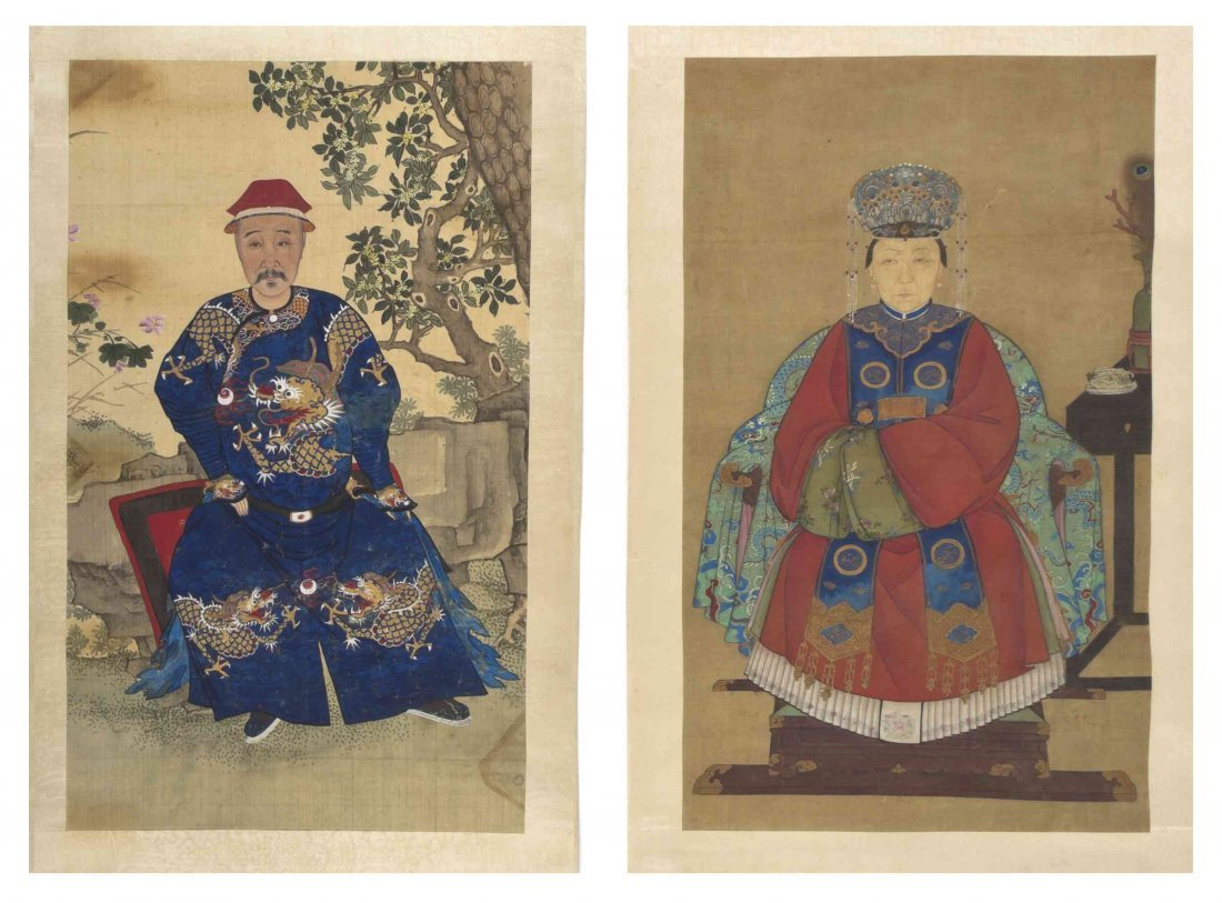 A Pair of Chinese Ancestor Portraits, Height of larger