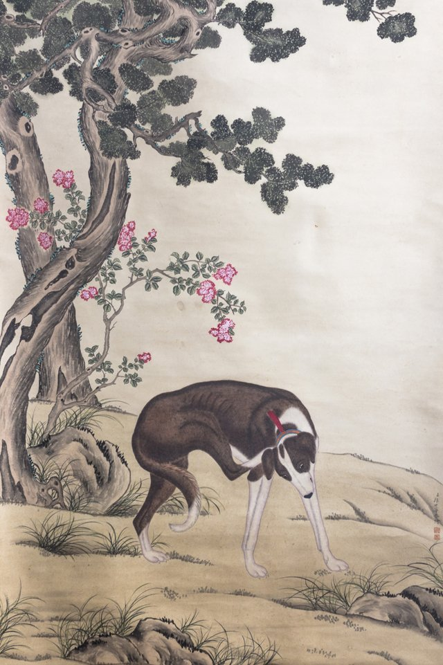 A Chinese Painting on Paper, Height 53 3/4 inches.