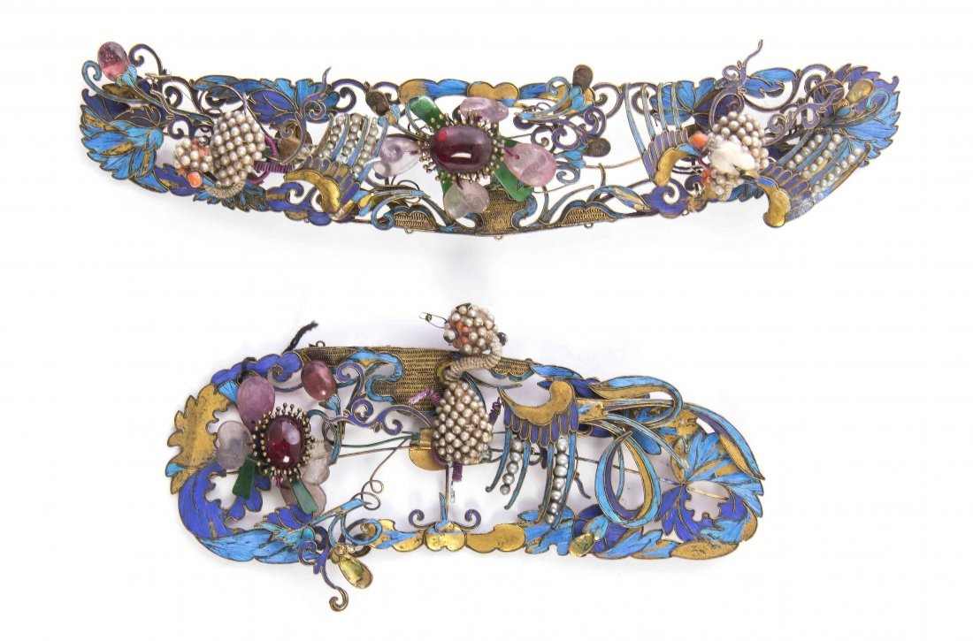 Two Chinese Hair Ornaments, Width of wider 6 7/8