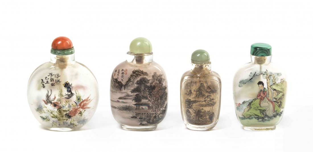 Four Interior Painted Snuff Bottles, Height of tallest