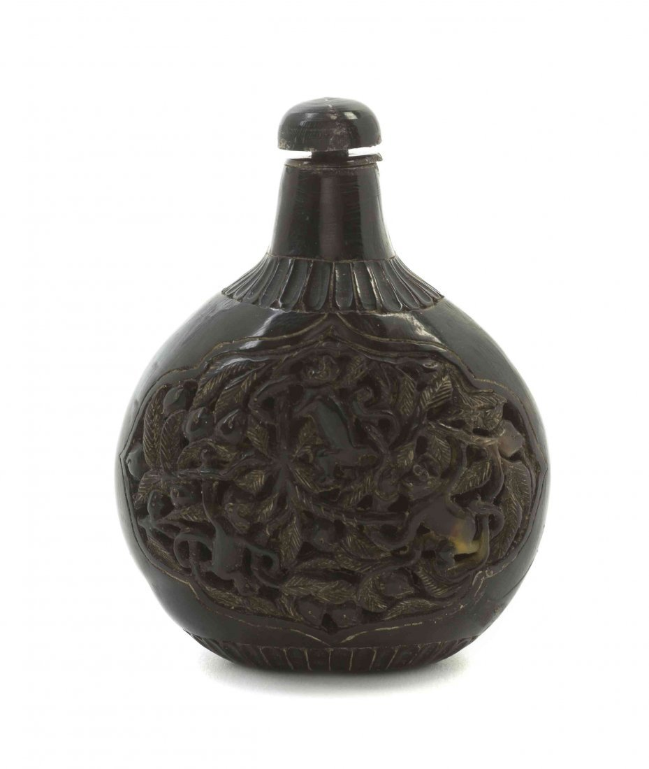 A Carved Tortoise Shell Snuff Bottle, Height 3 2/4