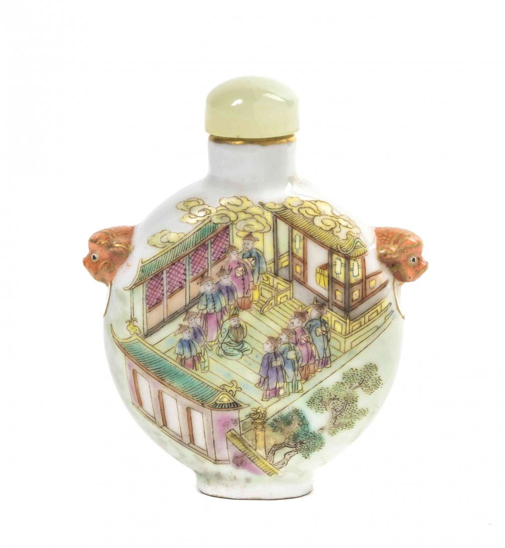 A Porcelain Snuff Bottle, Height 2 7/8 inches.
