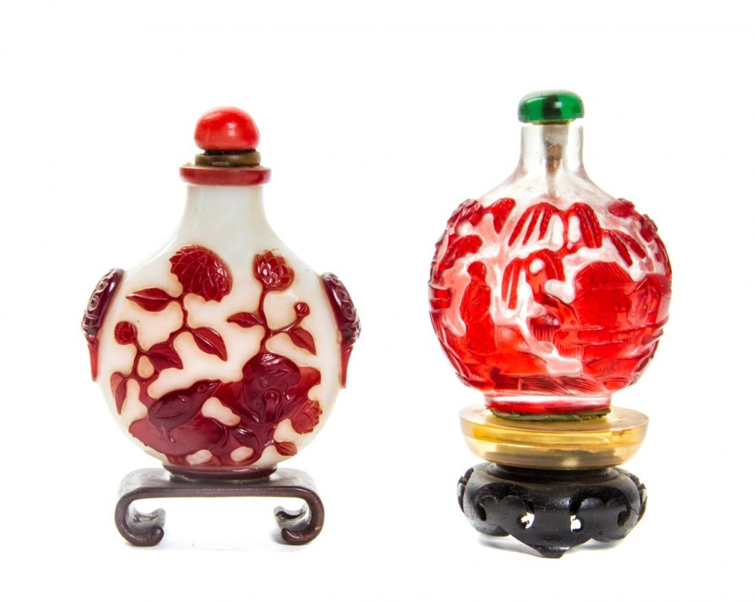 Two Glass Snuff Bottles, Height of first 2 1/2 inches.